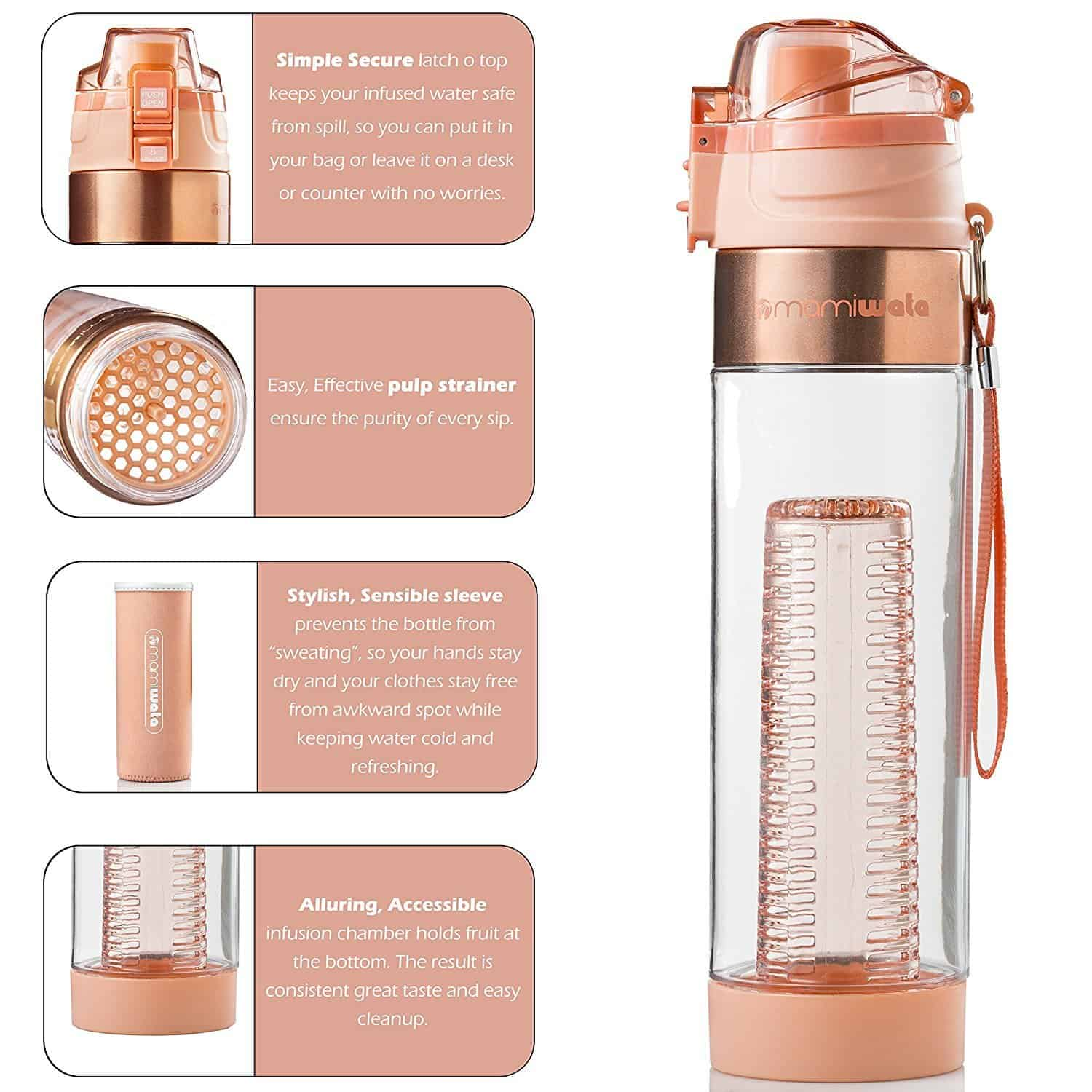 5eaee6af26 Mami Wata Infuser Water Bottle With Insulating Sleeve 24oz And ...